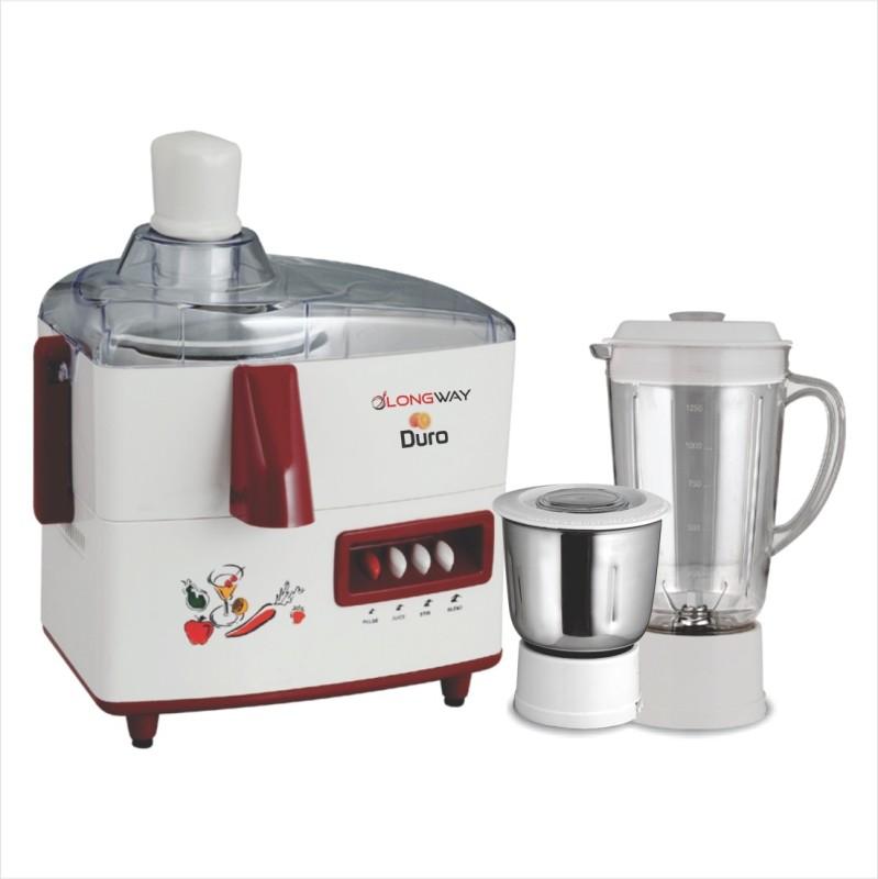 Longway Duro 500 Juicer Mixer Grinder(White, Brown, 2 Jars)