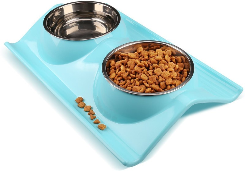 Sri High Quality Stainless Steel Double Food And Water Bowl Safety Healthy Food Bowl For Cat/Puppy-Small (Blue) Round Plastic Pet Bowl(150 ml Blue)