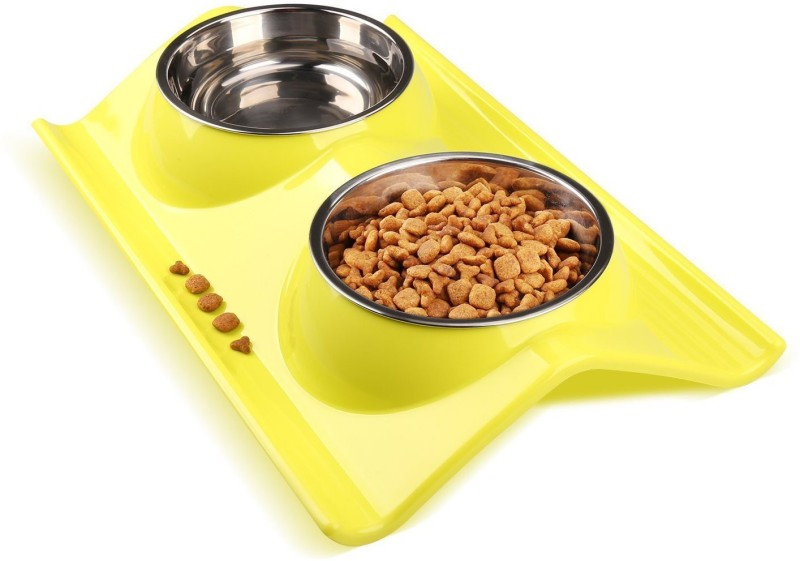 Sri High Quality Stainless Steel Double Food And Water Bowl Safety Healthy Food Bowl For Cat/Puppy-Small (Yellow) Round Plastic Pet Bowl(150 ml Yellow)