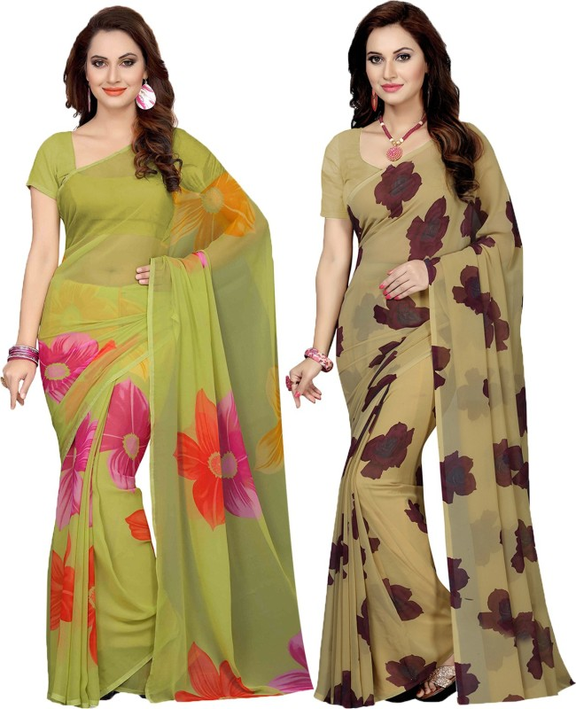 Ishin Printed Bollywood Faux Georgette Saree(Pack of 2, Multicolor)