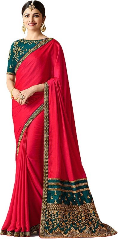 RadadiyaTRD Embroidered, Self Design Bollywood Silk Saree(Pink)