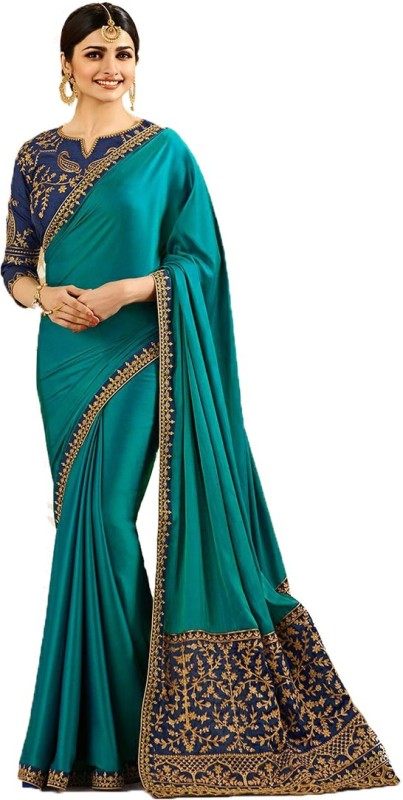 RadadiyaTRD Embroidered, Self Design Bollywood Silk Saree(Blue)