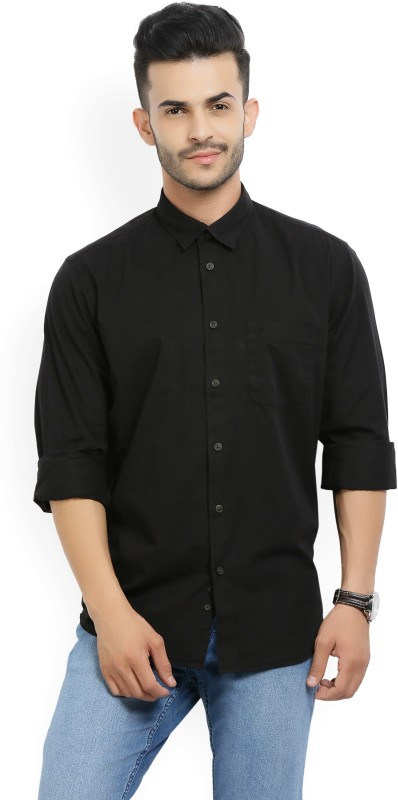 Indian Terrain Mens Solid Casual Spread Shirt