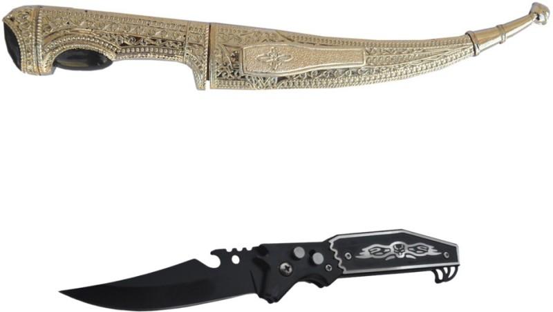 prijam Knife HK-03-10 (12cm) Model & BK-304 (10cm) Pocket Knife Pack of 2 Knife for Camping Hiking Pocket Knife(Multicolor)