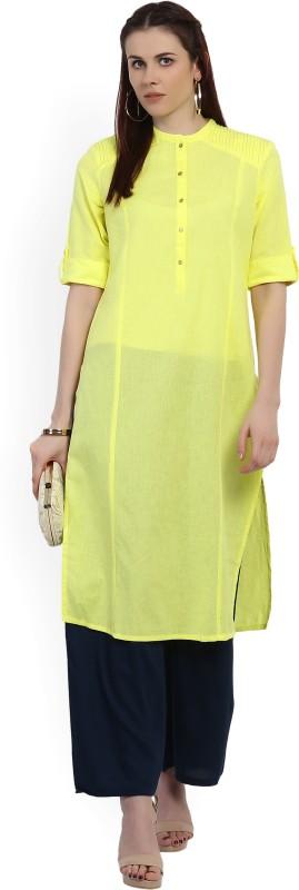 W Women Solid Straight Kurta(Yellow)