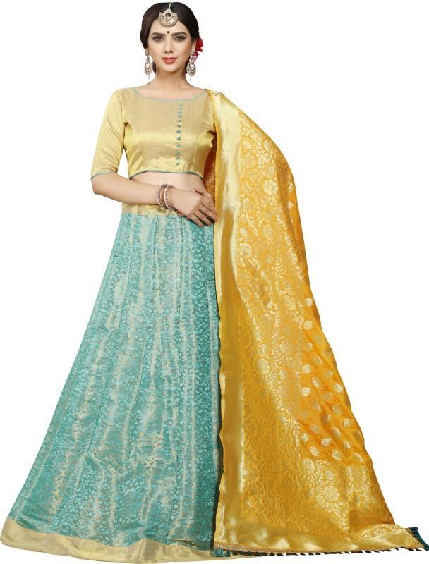 Greenvilla Designs Printed Semi Stitched Lehenga, Choli and Dupatta Set(Multicolor)