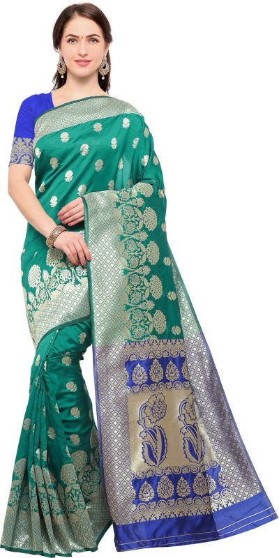 Ratnavati Embellished, Floral Print Kanjivaram Cotton, Silk Saree(Green)