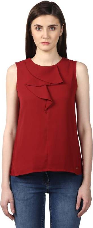 Park Avenue Formal Sleeveless Solid Women's Red Top