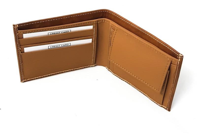 11e Men Tan Artificial Leather Wallet(3 Card Slots)