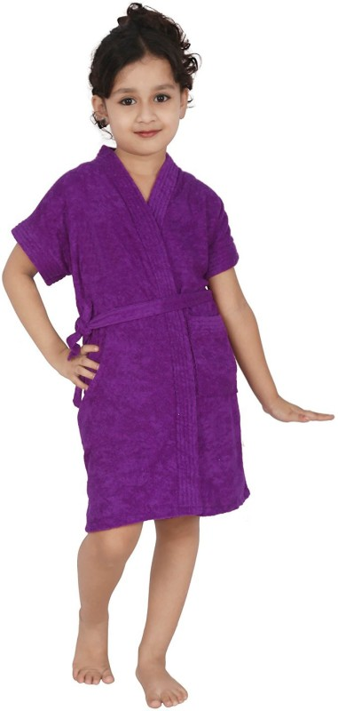 Be You Purple Medium Bath Robe(1 Bathrobe with belt, For: Boys & Girls, Purple)
