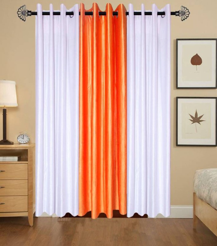 check MRP of orange curtains in living room FIRSTLIKE