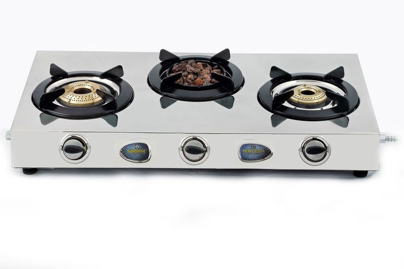 Sunshine Sunshine Meethi Angeethi Three Burner Stainless Steel Gas Stove Stainless Steel Manual Gas Stove(3 Burners)