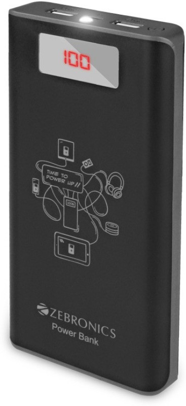 Zebronics 20000 Power Bank (ZEB-PG20000D, FAST CHARGING WITH DISPLAY)(Black, Lithium-ion)