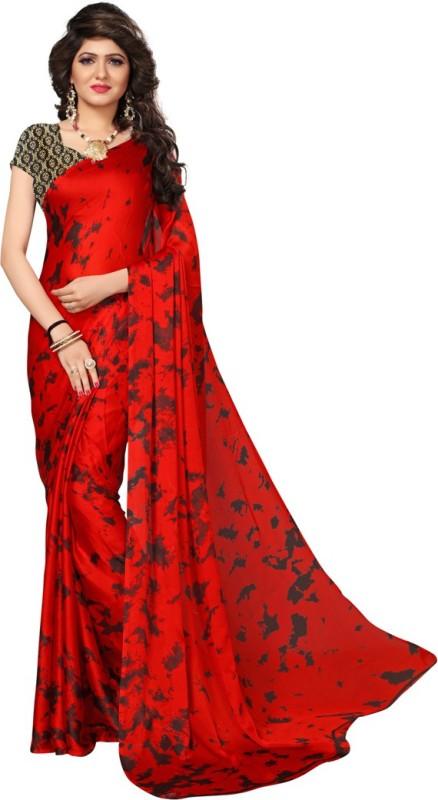 Saara Printed Fashion Satin Saree(Red, Black)