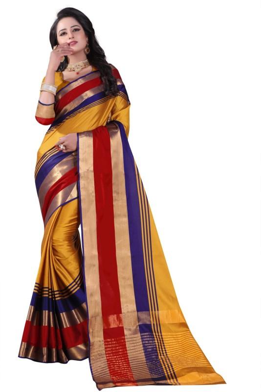 Ratnavati Striped Kanjivaram Cotton, Silk Saree(Yellow, Red)