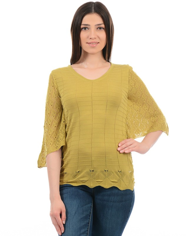 Monte Carlo Casual Butterfly Sleeve Solid Women Green Top