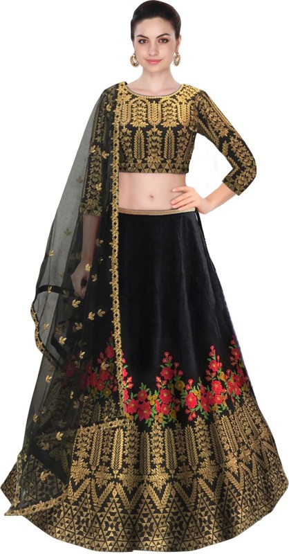 Fabron Embroidered Semi Stitched Lehenga, Choli and Dupatta Set(Black)