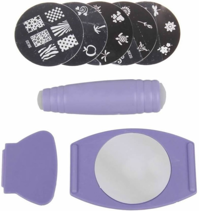 Airomart Salon Nail Stamping Kit | 5 Pre-Designed Plate |(PURPLE)