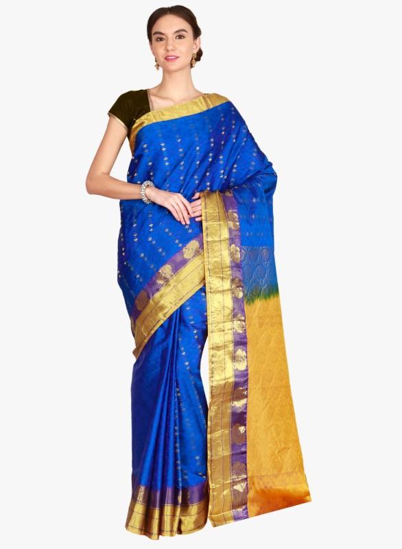 The Chennai Silks Woven Kanjivaram Pure Silk Saree(Blue, Yellow)
