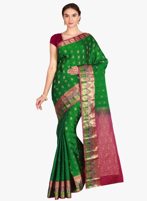 The Chennai Silks Woven Kanjivaram Pure Silk Saree(Green)