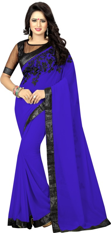SNH Export Embroidered Bollywood Georgette Saree(Blue)