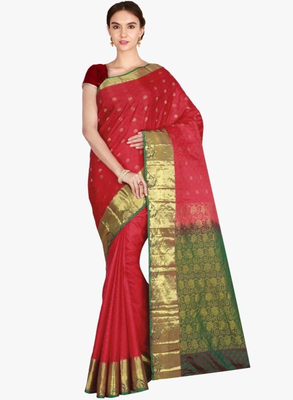The Chennai Silks Woven Kanjivaram Pure Silk Saree(Red)