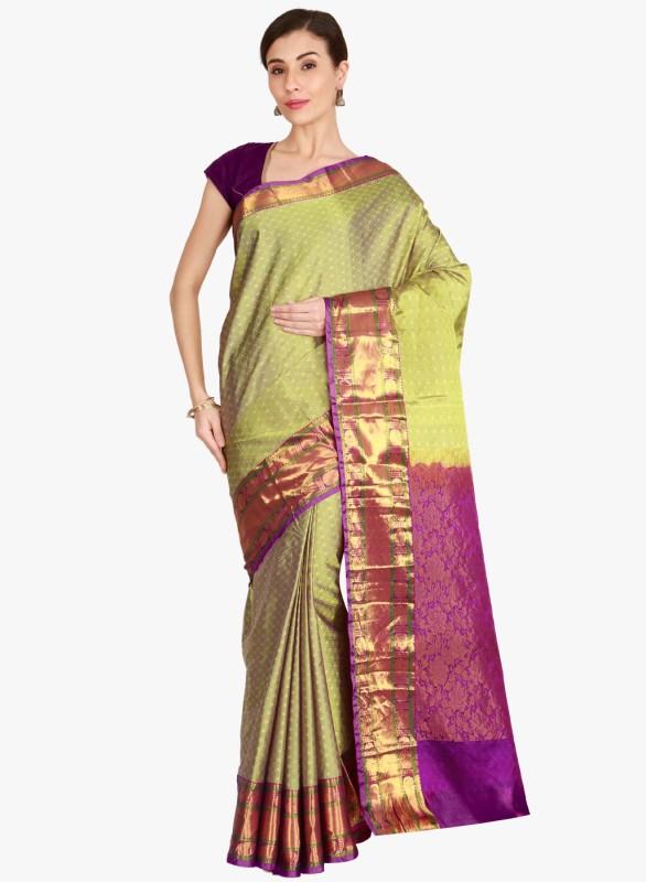 The Chennai Silks Self Design Kanjivaram Pure Silk Saree(Multicolor)