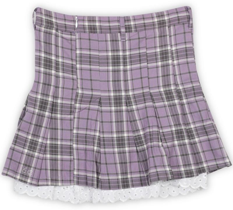 612 League Checkered Girls Pleated White, Grey, Purple Skirt
