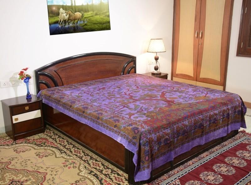 Sora 0 TC Cotton Double Self Design Bedsheet(1 bedsheet, Purple)