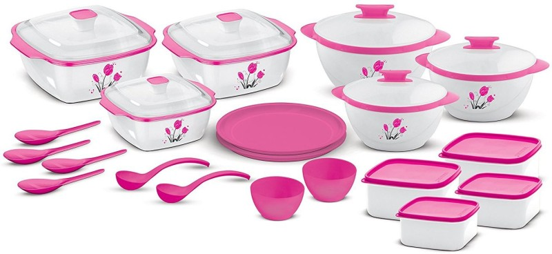 BMS Lifestyle All-in-One Kitchen Combo Designer Food Safe Serving Casserole , Container / Bowl Gift set of 20 Pcs, Pink Pack of 20 Casserole Set(250 ml)