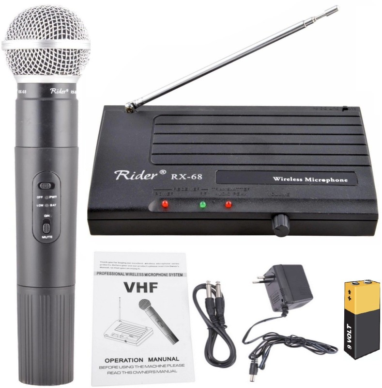 BalRama 200ft Wireless Range Rider Rx-68 Vhf Series Wireless / Cordless Microphone Single Channel Cordless Portable Professional Handheld Single Channel Transmitter Microphone Mic Set Very High Frequency Wireless Cordless Microphone System for Studio, Karaoke, Radio, Live-performances, Conference, M