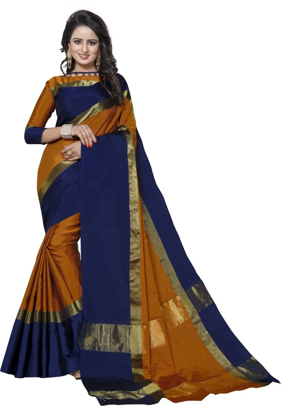 Craftsvilla Solid Fashion Tussar Silk Saree(Yellow, Blue)