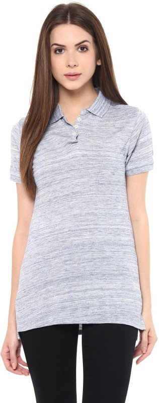 T Shirt Company Solid Women's Polo Neck Blue T-Shirt