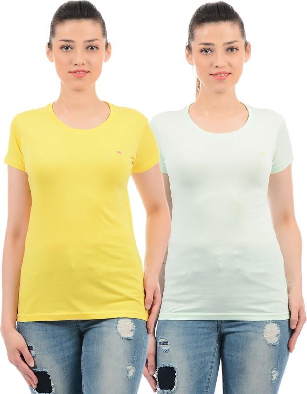 Monte Carlo Casual Half Sleeve Solid Women Yellow, Green Top