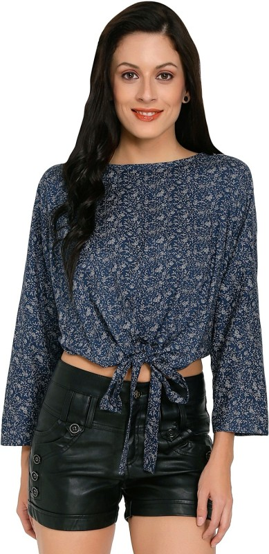 Philigree Casual Full Sleeve Floral Print Women's Blue Top