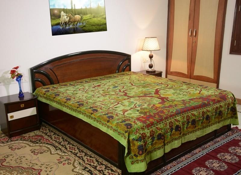 Sora 0 TC Cotton Double Printed Bedsheet(1 bedsheet, Green)