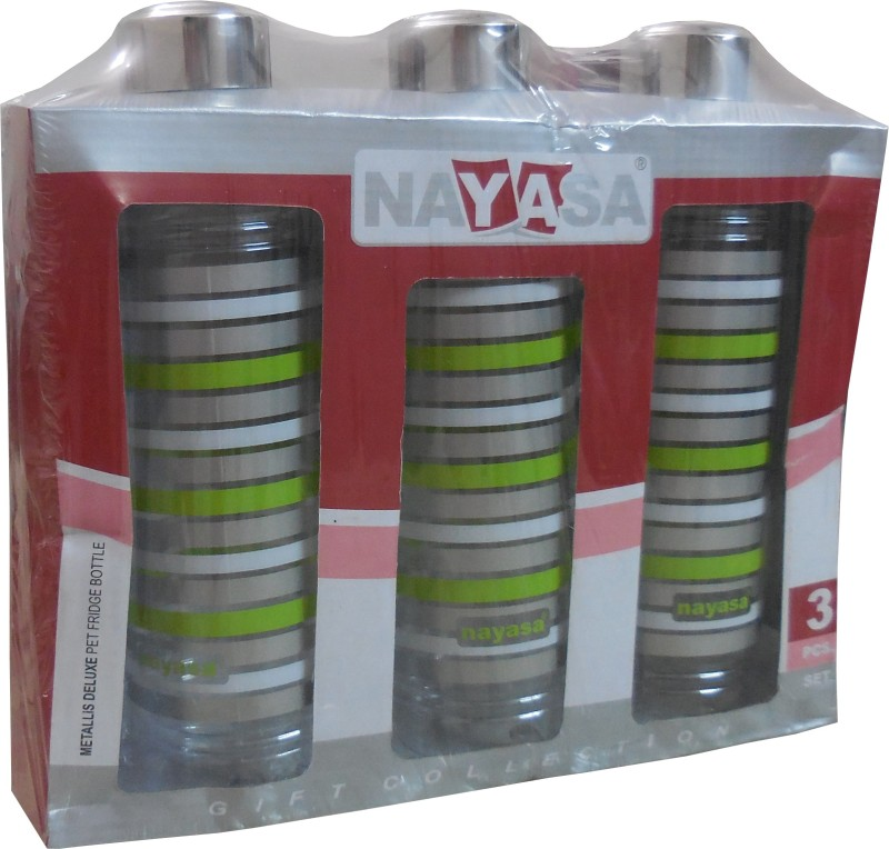 Nayasa Metallis Fridge Bottle 1000 Bottle(Pack of 3, Green, Silver)