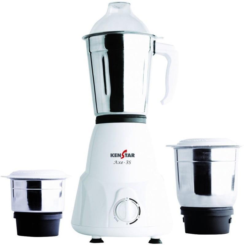 Kenstar AXE-3S 500 Mixer Grinder(White, 3 Jars)