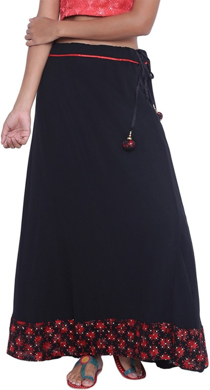 9rasa Embellished Women Flared Black Skirt