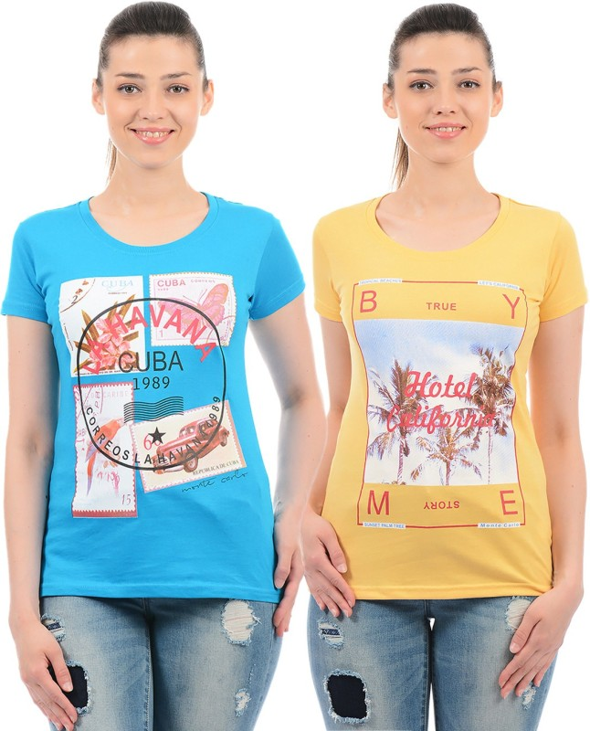 Monte Carlo Casual Half Sleeve Printed Women Blue, Yellow Top
