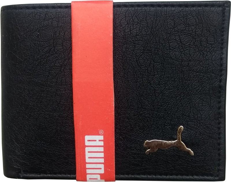 Puma Boys Casual Black, Gold Artificial Leather Wallet(4 Card Slots)