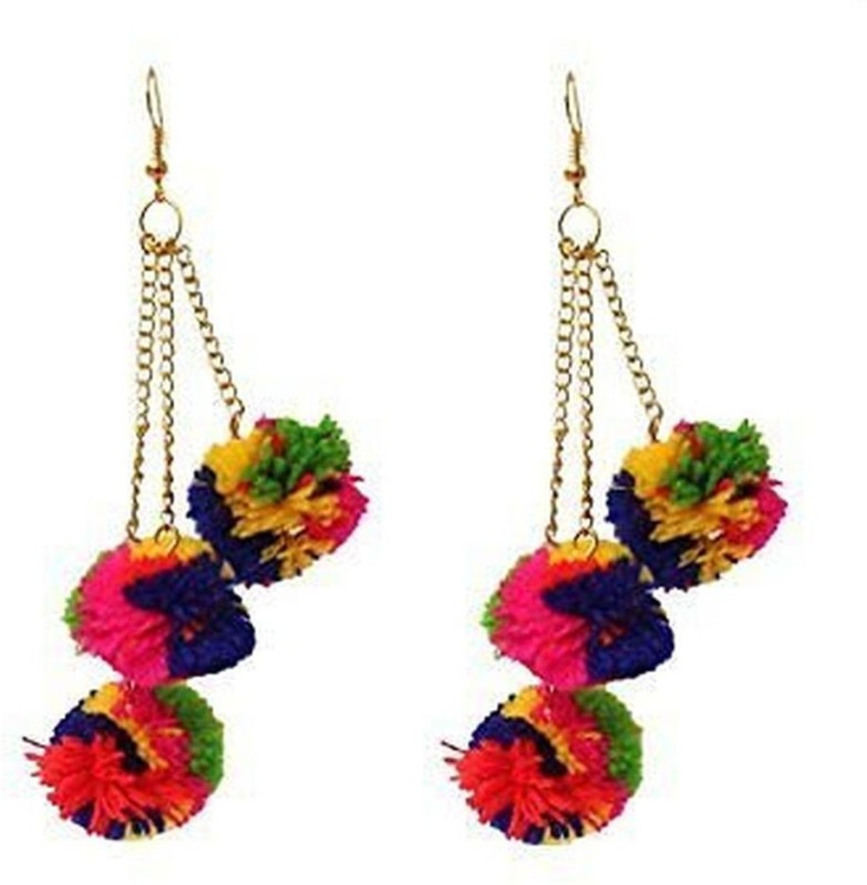 Shoppingworld19 Shopping World 2018 Latest Fashion Multi colour Pom Pom Trendy Party Wear Drop Long Earrings Cotton Dori, Alloy Drops & Danglers