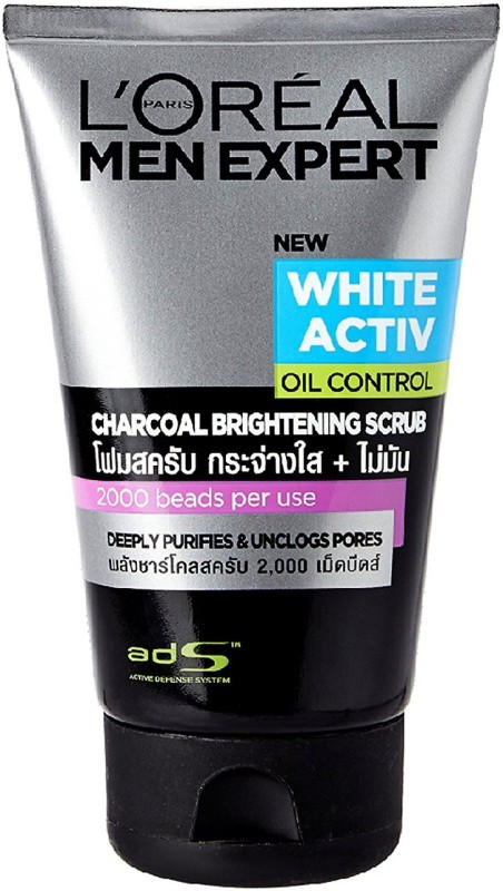 LOreal Men Expert White Active Charcoal Brightening Scrub 2000 Beads Per Use Face Wash(100 ml)