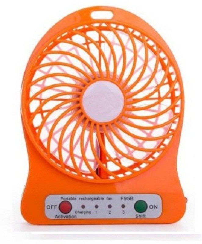 Elegant Shopping Rechargeable Mini Fan 4 Blade Table Fan(Orange)