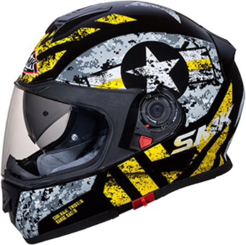 SMK Twister-Captain Black Grey Yellow- Full Face Dual Visor Bike Helmet, Large size Motorbike Helmet(Black Grey Yellow)
