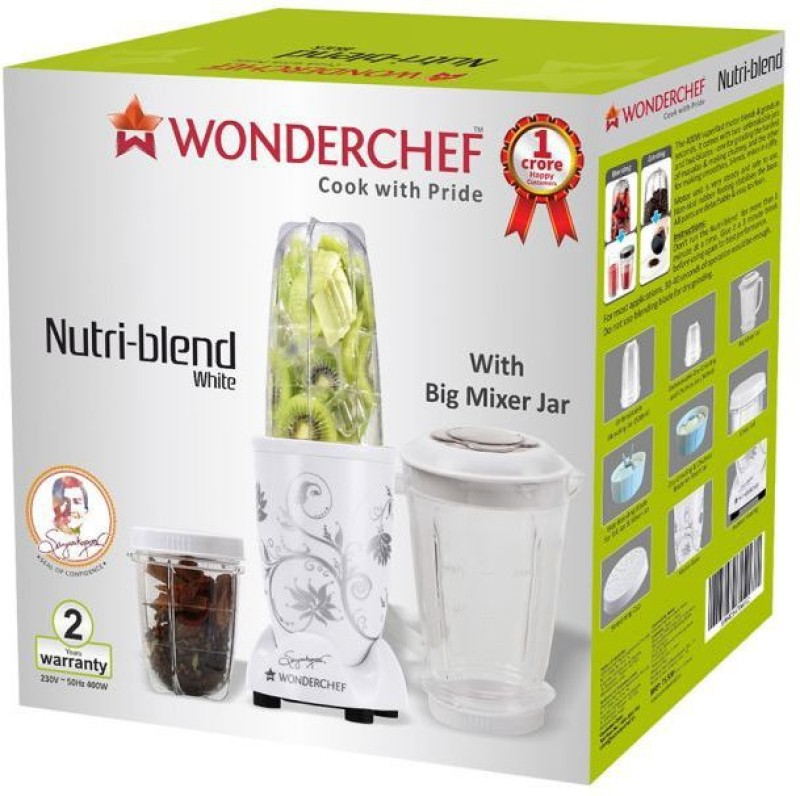 Wonderchef Nutri-Blend 400-Watt Mixer Grinder with 3 Jars (White) 400 W Juicer Mixer Grinder(White, 3 Jars)