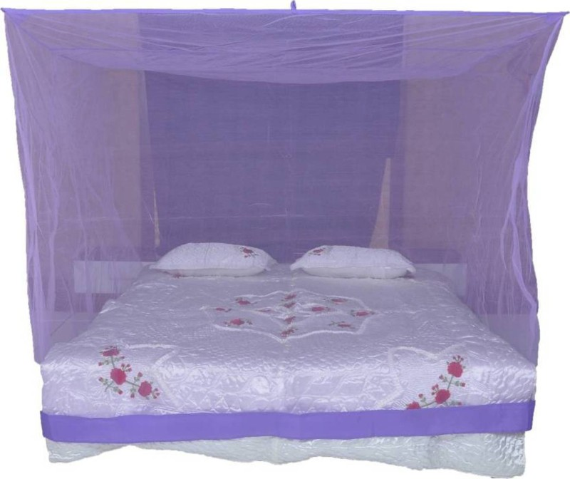 Shreejee Nylon Adults Double Bed Purple color Mosquito Net 6x6 feet 1 Mosquito Coil