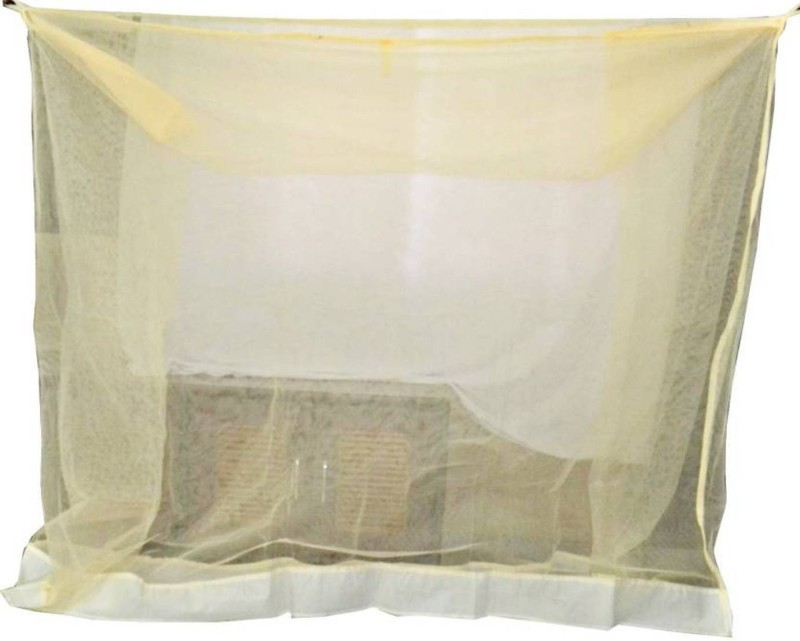 Shreejee Nylon Adults Double Bed LYellow color Mosquito Net 6x6 feet 1 Mosquito Coil