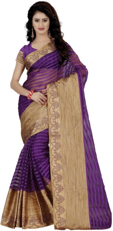 Trendz Style Striped Fashion Art Silk Saree(Purple)