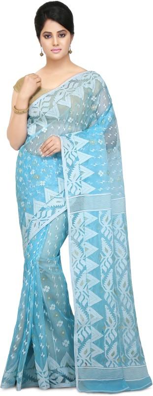 Wooden Tant Embroidered Jamdani Silk Cotton Blend Saree(Blue)